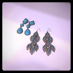 2 pair turquoise gold silver earrings